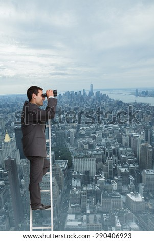 Businessman standing on ladder against new york - stock photo