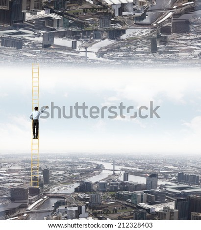 Businessman standing on ladder between two realities - stock photo