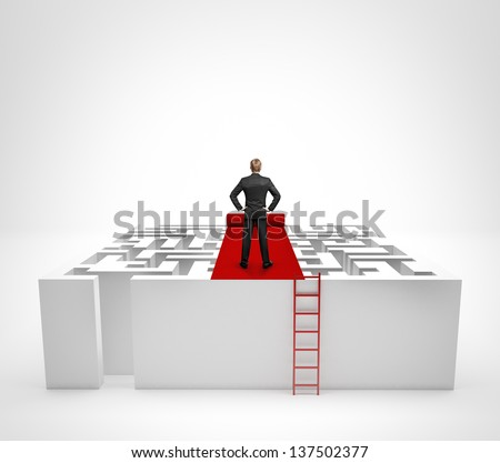 Businessman standing on the maze with red carpet - stock photo