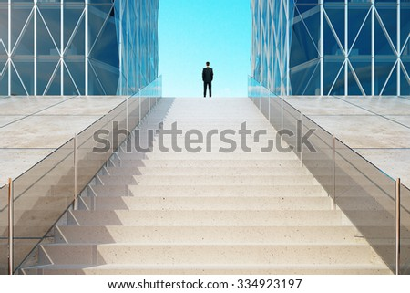 Businessman standing on top of the stairs near the modern business center 3D Render - stock photo