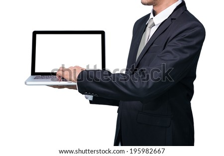 Businessman standing posture hand hold notebook laptop isolated on over white background - stock photo