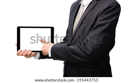 Businessman standing posture hand holding blank tablet isolated on over white background - stock photo
