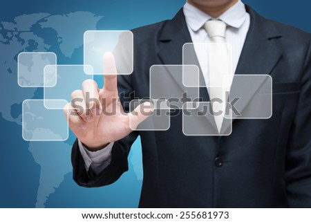 Businessman standing posture hand touching virtual screen isolated on over blue background - stock photo