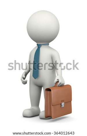 Businessman, Standing White Character with Briefcase Wearing a Tie 3D Illustration on White Background - stock photo