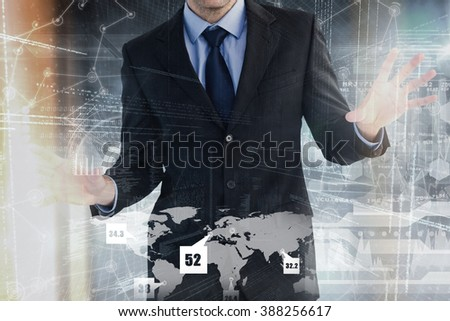 Businessman standing with fingers spread out against hologram background - stock photo