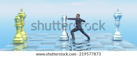 Businessman strategy on chessboard pushing the queen - 3D render - stock photo