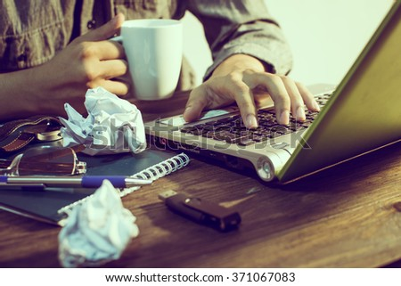 Businessman Stressed With Work At Night - stock photo