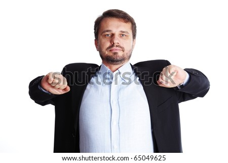 Businessman stretching after a tiring work, isolated over white background - stock photo