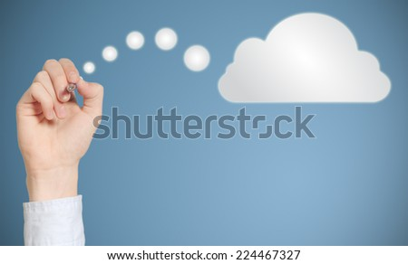 Businessman student or teacher hand pen writing drawing thinking cloud or computing - stock photo