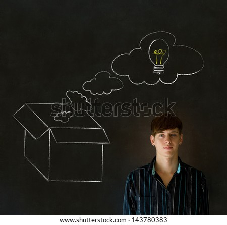Businessman, student or teacher thinking out the box chalk concept blackboard background - stock photo