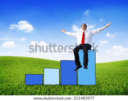 Businessman Success Performance Growth Improvement Business Victory Happiness - stock photo