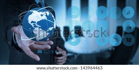 businessman success with his board room background - stock photo