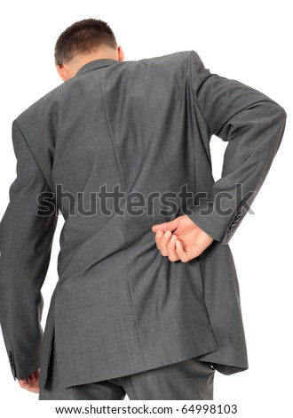 Businessman suffering from backache. All on white background. - stock photo