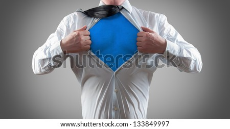 Businessman super hero - stock photo