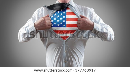 Businessman superhero with the American flag shirt  - stock photo