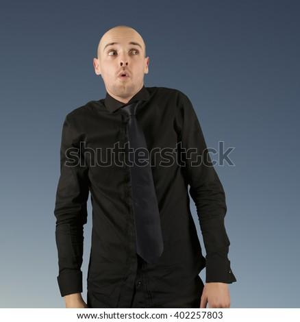 Businessman surprised portrait isolated - stock photo