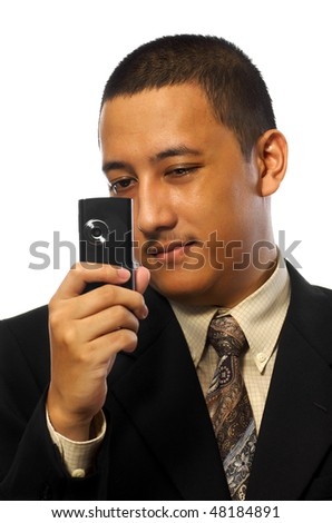 Businessman Take Photo with cellphone isolated on white background - stock photo