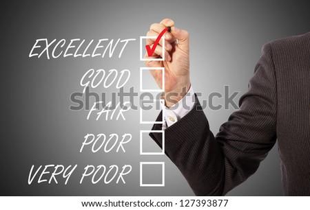 businessman take survey on glass board, grey background - stock photo
