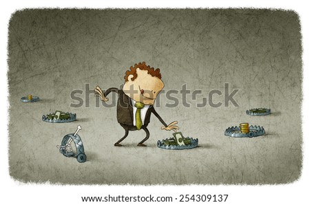 businessman taking a dollars stack on the bear trap - stock photo