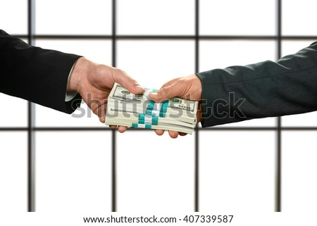 Businessman taking bundles of cash. Big money on white background. More than grateful. Working for insurance company. - stock photo
