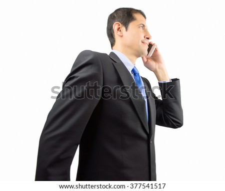 businessman talking by phone and walking isolated on white background - stock photo