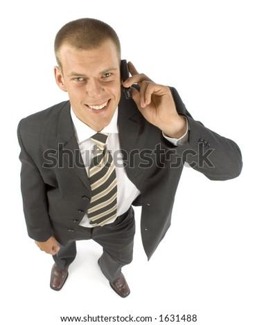 businessman talking mobile phone - stock photo