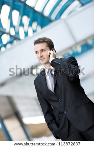 Businessman talking on the cell phone - stock photo
