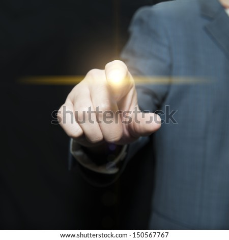 Businessman tap touch screen  - stock photo