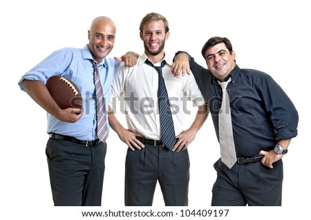 Businessman team of rugby fans isolated in white - stock photo
