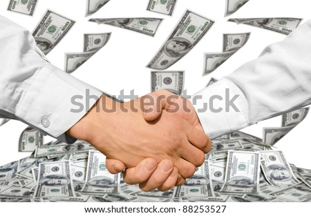 Businessman teamwork partners shaking hands - stock photo