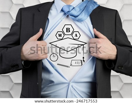 businessman tearing his shirt with drawing mba concept - stock photo