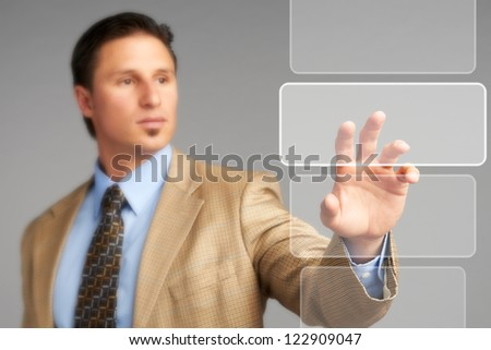 Businessman technology touch concept - stock photo