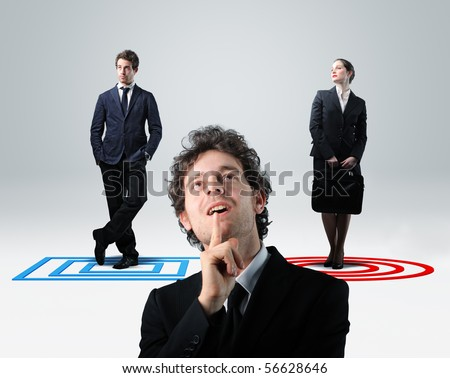 businessman thinik about choise between man or woman - stock photo