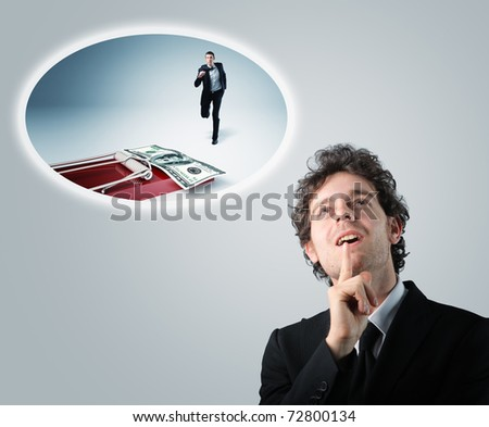 businessman think how to improve his business - stock photo