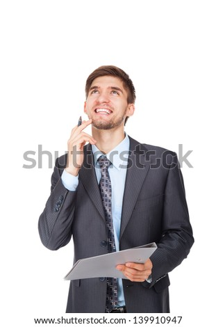 businessman think looking up, hold clipboard, handsome young business man look up to empty copy space, wear elegant suit and tie isolated over white background, concept of sign up contract document - stock photo