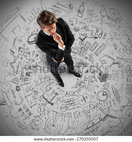 Businessman thinking about future plans and projects - stock photo