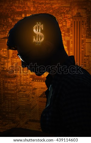 Businessman thinking about money in business concept - stock photo