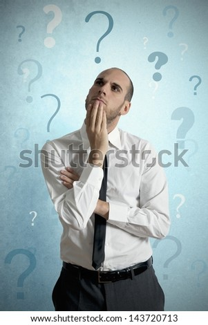 Businessman thinking about the business problem - stock photo