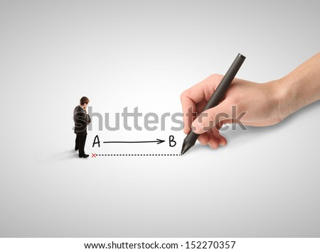 businessman thinking and hand drawing route - stock photo