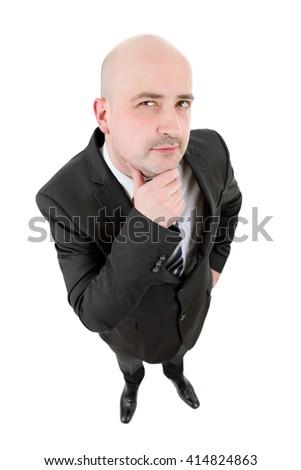 businessman thinking full length isolated on white - stock photo
