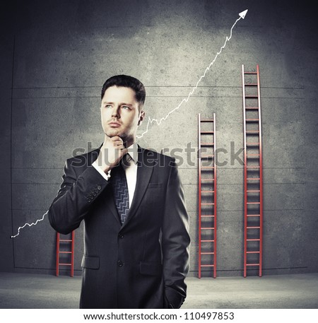 businessman thinking on a ladder background - stock photo