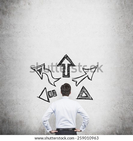 businessman thinking with drawing arrows over head - stock photo