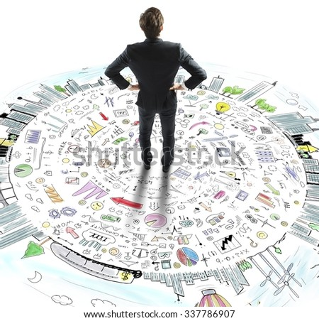 Businessman thinks on the world business sketch - stock photo