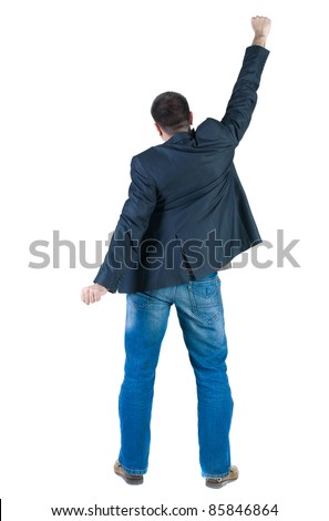Businessman thumbs up. rear view. Isolated over white . - stock photo