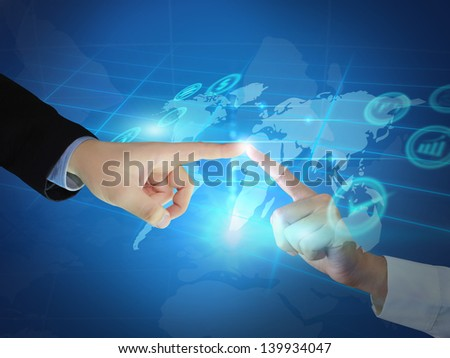 Businessman touch button interface - stock photo