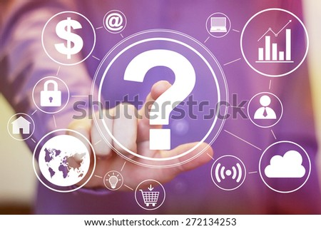 Businessman touch button interface question icon web set - stock photo