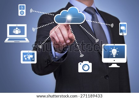 Businessman Touch Cloud Button with Finger - stock photo