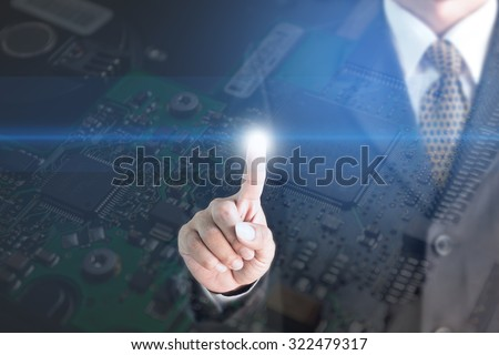 Businessman touch screen Metal Screen Background Electronic Circuit Nick. - stock photo