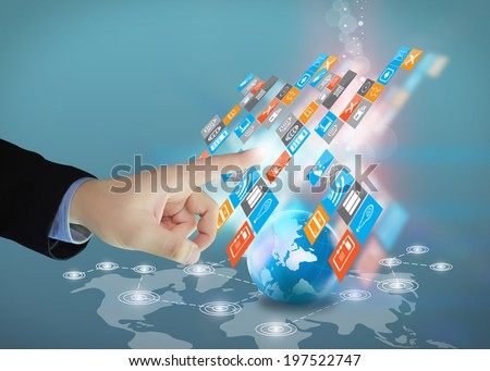 businessman touch social media. - stock photo