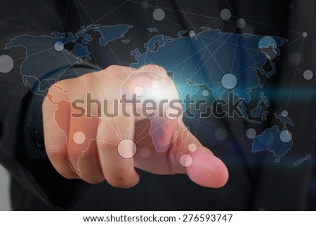 businessman touch social network concept. - stock photo